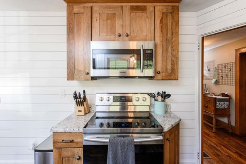 Save countertop space by using an over the stove microwave