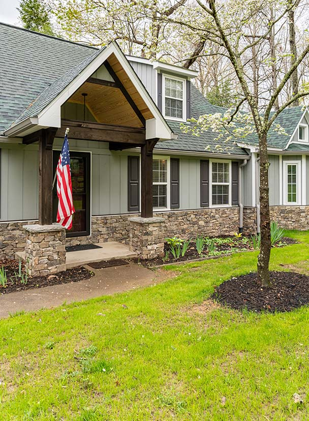 Craftsman Whole Home Remodel front entry welcomes guests