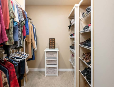 Walk-in closet offers plenty of storage for the Clean Slate Renovation